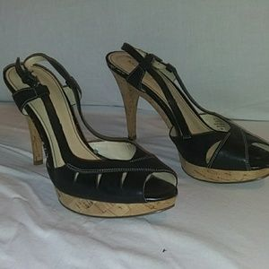 Marc Fisher cork and leather black heels